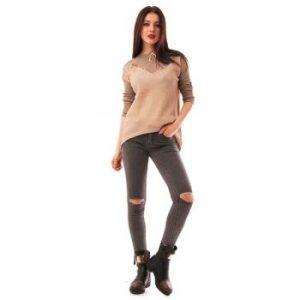 Blugi Jeans Dama Skinny Cu Rupturi Gri