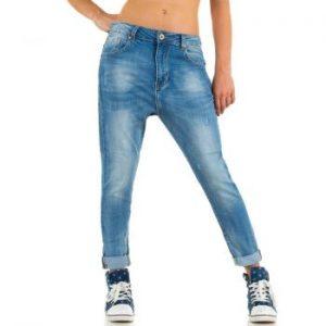 Blugi Jeansi trendy, de culoare albastra, cu turul lasat dama