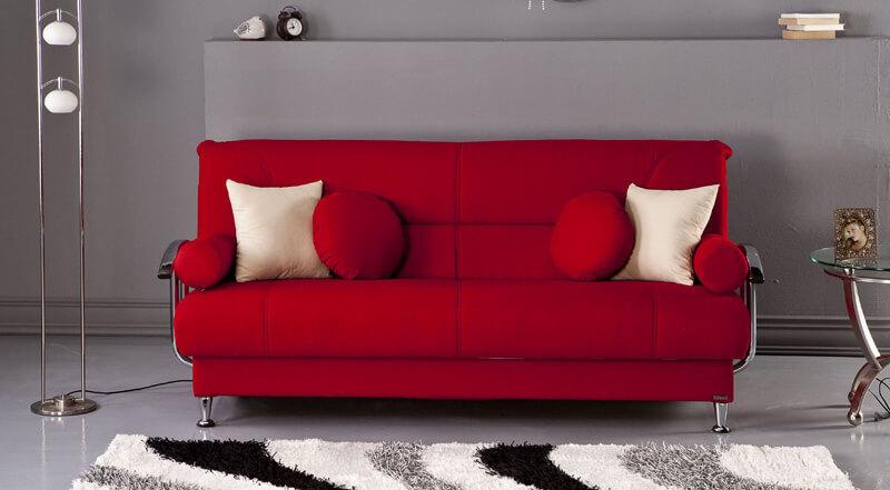 cum da viata livingului o canapea rosie